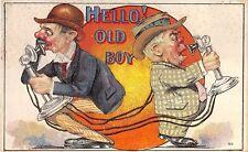 POSTCARD  COMIC   Telephone  Related   Hello  !   Old  Boy