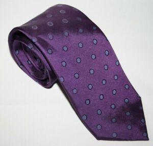 Baumler Men's Formal Office Wedding Purple Polka Dot 100% Silk Tie Necktie