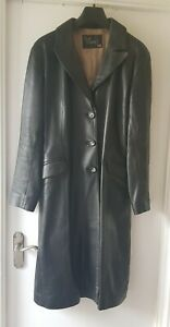 Womens black 3/4 length real leather tailored coat jacket, XL size 14 - 16 appr