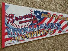 1996 Atlanta Braves Baseball Back to Back National League Champs 30 Inch Pennant