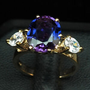 SAPPHIRE BLUE PURPLE OVAL 4.70 CT. 925 STERLING SILVER ROSE GOLD RING SIZE 5.75