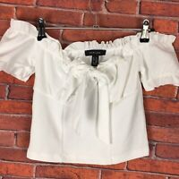 New Look Size 8 White  Off The Shoulder Crop Top Spring Summer Holiday Stretch