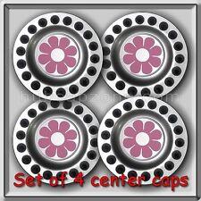 4 2000-2001 VW, Volkswagen Beetle Pink Daisy Alloy Wheel Center Caps, Hubcaps
