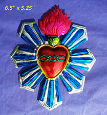 "Sacred Heart Mexican Handmade Painted Tin Milagro Style Art 6.5""x 5.25"""