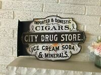 Antiqued Old City Drug Store Double Sided Flanged Country Steel Sign 13.2 x 20