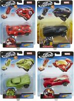 HOT WHEELS MARVEL FLIP FIGHTER CARS - CHOOSE YOUR FAVOURITE MARVEL HERO CARS-NEW