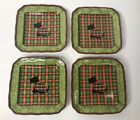 Christmas 222 Fifth Christmas Scotty Argyle Appetizer Plate - Set Of 4
