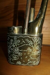 Brass Opium Water Pipe Asian Antique - Etched picture on sides - vents on base