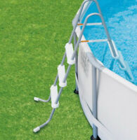 """Above Ground Swimming Pool Ladder Steel Frame Resin Steps Pools up to 42"""" deep"""