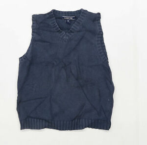 Lands End Boys Blue Sleeveless Jumper Age 6-7 Years