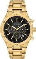 Bulova Men's Quartz Chronograph Black Dial Gold-Tone Bracelet 43mm Watch 97B161