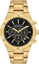 Bulova Men's Quartz Chronograph Black Dial Gold-Tone Bracelet 43mm Watch 97B161