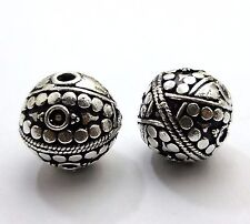 4 PCS SOLID COPPER  BALI METAL BEAD 16MM ANTIQUE  SILVER PLATED
