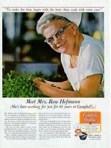 Vintage advertising print CAMPBELL'S Soup worker Mrs. Rose Hofmann 44 years 1967