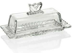 Premium Glass Butter Dish with Flower Lid and Easy Grip Handle - Dishwasher Safe