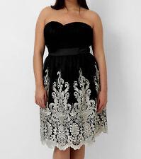 Kleid Gr.54 Abendkleid Bandeaukleid schulterfrei festlich schwarz Damen knielang