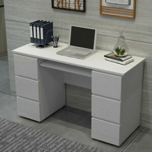 90/120cm Home Computer Dressing Table Desk w/ 3/6 High Gloss Drawers Worksation