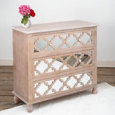 Wood Lattice Mirrored Bevelled Three Large Drawer Wooden Storage Chest DUSX