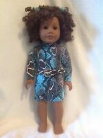 "Fit 18"" American Girl doll black blue snakeskin print dress belt clothes outfit"