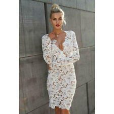 Women Casual V-Neck Long Sleeve Hollow Out Floral Lace Slim Dress Prom Wedding