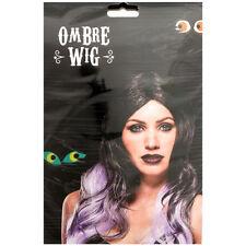 Vendedor Reino Unido Ombre peluca de pelo largo negro y púrpura Anime Cosplay Disfraz flecos Ondulado