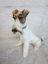 "Hispania Daisa Lladro Large Ceramic Fox Terrier Dog 3331 Figurine 1984 15.5"""