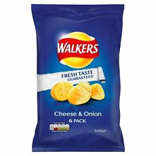 Walkers Cheese & Onion Crisps (6X25g) 6 INDIVIDUAL PACKETS UK MADE NOT IMPORTED