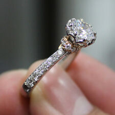 Fine 1.55 Ct Round Cut Diamond Engagement Ring GIA G,VS2 18K Two Tone Gold