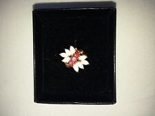 18K over Sterling Silver Ruby/Opal Cluster Ring