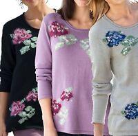 Plus Size UK  8 - 14 Ladies Floral Jumpers Black Lilac or Grey