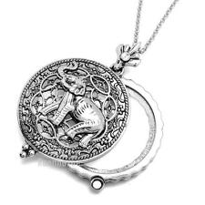"""Silver 5X Magnifying Glass Lady Luck Elephant Pendant 31"""" Chain Necklace SJ024S"""