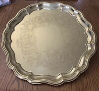 """Gold Baldwin Brass Chip and Dale Round Serving Platter Tray 14 1/2"""""""