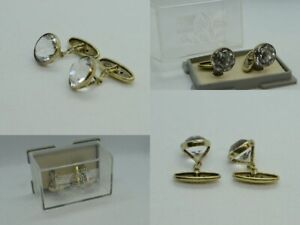 Vintage cufflinks of the USSR. Gold-Plated Silver 875.  rock crystal