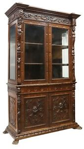 Bookcase, Italian Renaissance Revival Carved Cabinet, 20th C., Gorgeous!