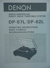 DENON DP-57L and DP-62L TURNTABLE OPERATING INSTRUCTIONS MANUAL 31 Pages