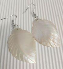 Natural Shell - White/Ivory Coloured - Leaf Shape/Design Drop Earrings *NEW*