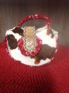 Girl's Cowgirl Cow Print Purse Sassy Pet Sak by Douglas Horseshoe Red trim Small