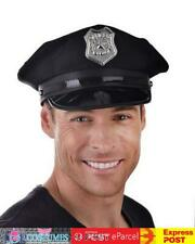 Ac815 Black Policeman Police Officer Hat Cap Fabric Cops Adult Costume Accessory