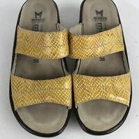 Mephisto Air Relax Mobils Womens Wedge Sandal Sz 38 Patent Yellow Snake Print