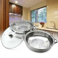 28CM 3 Tier Stainless Steel Steamer Cooker Pot Set Cook Food With Glass  Lids AU