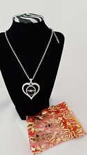 MOM silver Heart Necklace Fit 18mm Snap Charm adj chain w/gift bag USA fast ship