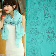 Fashion Light Blue Women Long Floral Print Cotton Scarf Wrap Shawl Large Scarves