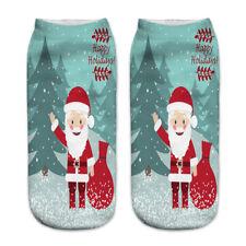 3d Unisex Print Cute Santa Claus Socks Low Cut Harajuku Christmas Boat Sock 5