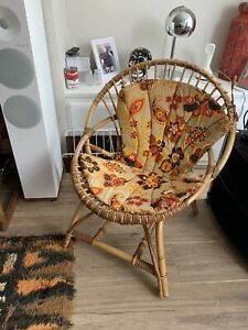 Vintage Mid Century Bamboo Chair, Franco Albini Style Cane Armchair Used