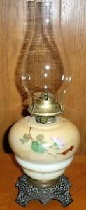 Antique Hand Painted Floral  Oil / Kerosene GWTW Table Lamp USA