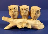 VINTAGE HAND PAINTED CERAMIC 3 OWLS ON A BRANCH - FLAWLESS CONDITION!!!