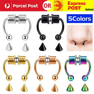 Fake Septum Nose Ring Segment Helix Tragus Faux Clicker Non-Piercing Magnetic