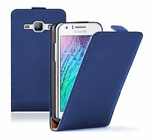 Ultra Slim BLUE Leather Case Cover For Samsung Galaxy Duos SM-J100H/DS 2015