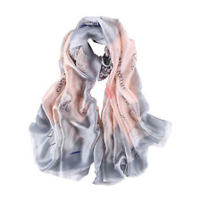 Long Silk Feel Satin Scarf Silver and Pink Stamps Print LAT114