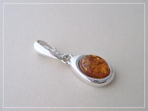 Pendentif ambre véritable mer baltique argent sterling 925 PE29-c